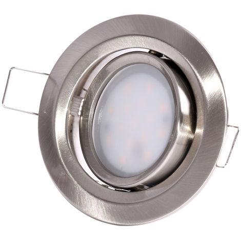 Kit de 3 spots encastrés LED Coin Slim orientable - Alu tourné - 6.8W - 2700K - IP23 - Non dimmable - Avec ampoule