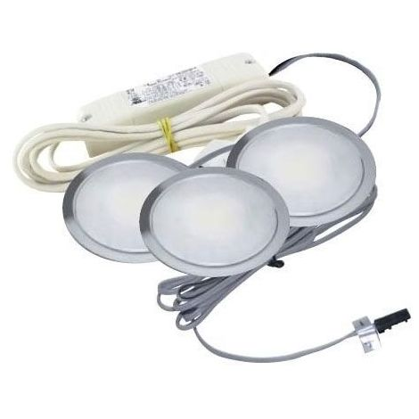 Kit de 3 spots led ronds encastrables sun - 3,5 w - : - Puissance : 10,5 W - : - Fixation : A encastrer - Couleur de la lumière : Blanc neutre - Indice de protection : IP 44 - Décor : Inox - Type - Indice de protection : IP 44