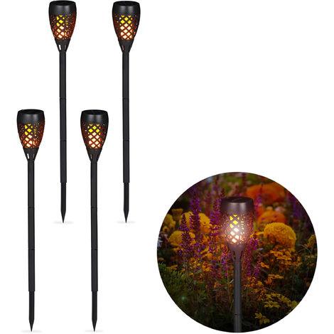 Kit de 4 Antorchas Solares de Jardín para Clavar al Suelo, Plástico, Negro, 78 cm
