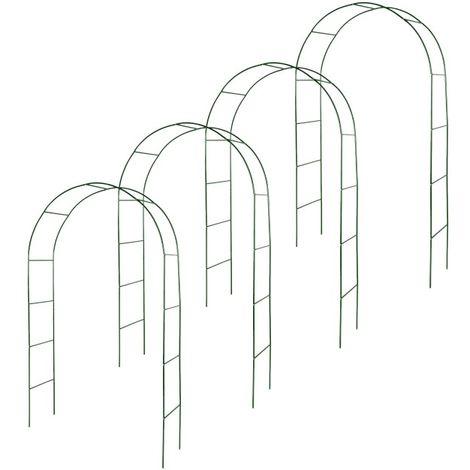 Kit de 4 arches de jardin métallique pour plantes grimpantes vert foncé