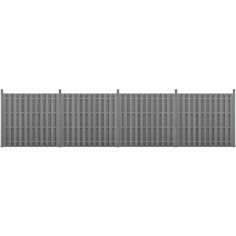 Kit de 4 Clôtures Barrière Brise Vue Brise Vent Bois Composite (WPC) Gris 185 x 747 cm