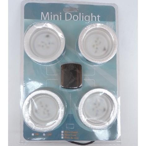 Kit de 4 spots encastrés LED 1.3W Ø 68mm bord Alu blanc froid 6000K 82lm 90° avec alim 12V spécial meuble DOLIGHT R06801.3-BFK