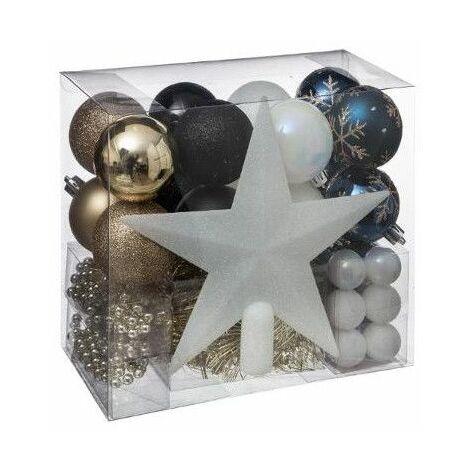 Kit de 44 décorations pour sapin de Noël - Bleu et doré - Livraison gratuite