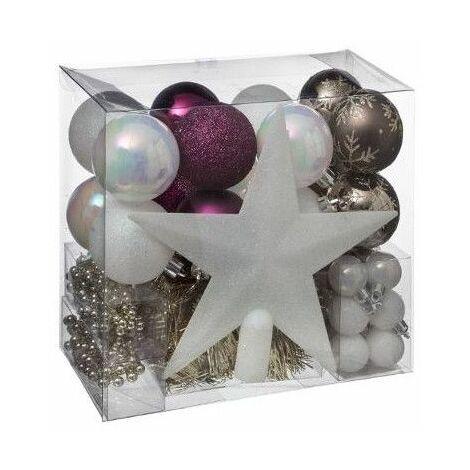 """main image of """"Kit de 44 décorations pour sapin - Rose et doré - Guirlandes, boules et cimier - Livraison gratuite"""""""