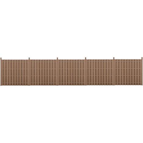 Kit de 5 Clôtures Barrière Brise Vue Brise Vent Bois Composite (WPC) Brun 185 x 932 cm