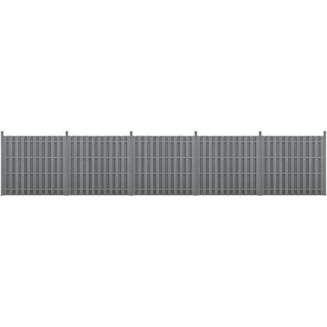 Kit de 5 Clôtures Barrière Brise Vue Brise Vent Bois Composite (WPC) Gris 185 x 932 cm