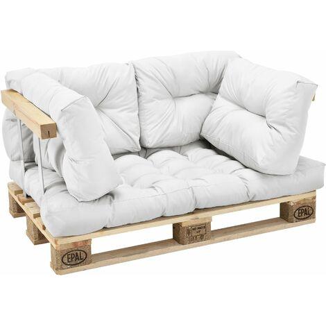 Kit de 5 coussins pour palettes - coussin de siège + coussins de dossier blanc - Blanc
