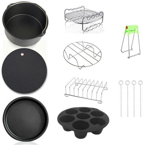 Kit de accesorios de freidora de aire de calidad fina de acero al carbono de 8 piezas