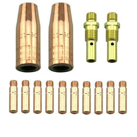 Kit de accesorios de maquina de soldadura MIG de 14 piezas, puntas de contacto de 0,035 pulgadas, boquillas de gas, difusores de repuesto para Lincoln 100L y Tweco Mini / # 1