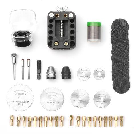 Kit de accesorios para herramientas rotativas, para Dremel Tool HSS Mini hoja de sierra Ruedas de corte rotativas Kit de herramientas, para piedra de plastico de vidrio de madera, con juego de pinzas de laton de 0,5-3,2 mm, portabrocas sin llave