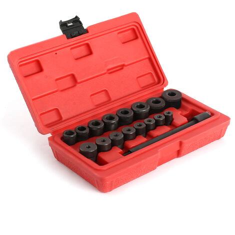 Kit de Alineación de Embrague, Herramientas de centrador embrague, con estuche roja, 17 Partes, Material: Acero C45