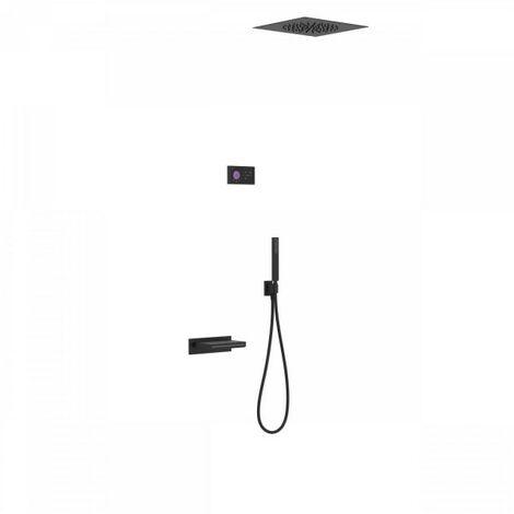 Kit de baignoire thermostatique électronique et encastré SHOWER TECHNOLOGY Noir Mat - TRES 09288315NM