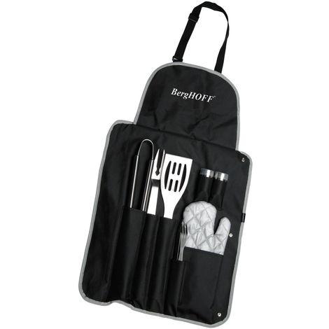 Kit de barbecue - 9 Accessoires avec tablier - Noir