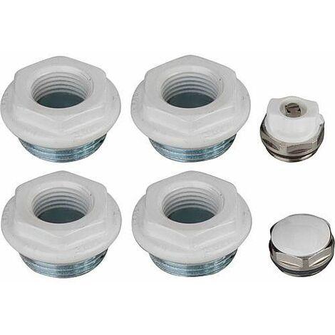 """main image of """"Kit de bouchons de raccordement A80 pour radiateurs Seven+Simun Super G1x1/2, RAL 9010"""""""