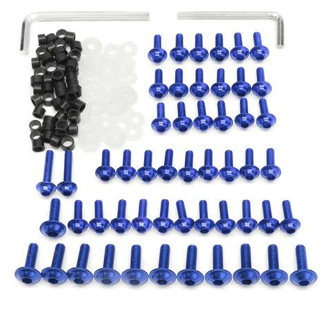 Kit de boulons de carénage de moto Clips de fixation vis pour Yamaha YZF R6 1999 2000 2001 2002 (bleu, 158 pièces)