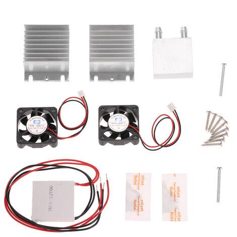 Kit de bricolage Thermoelectrique Peltier Cooler Refrigeration Systeme de refroidissement Dissipateur de chaleur Module de conduction + 2 Ventilateurs + 2 TEC1-12706