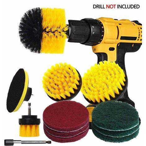Kit de brosse de forage Power Scrubber - Fixation de brosse de forage avec rallonge de 6 / 4 brosses en nylon / 6 tampons à récurer, pour coulis, carreaux, salle de bain, surface de cuisine
