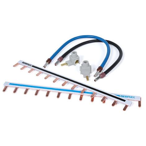 Kit de câblage 1 rangée (2 peignes reversibles bleu et noir, 2 bornes de connexion, 4 câbles surmoulés) - Debflex