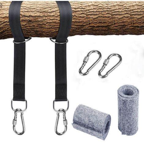 Kit de ceinture de sécurité hamac suspendu avec anneau en D et 2 mousquetons solides, supportant jusqu'à 550 kg (avec sac de rangement) et coussin de protection d'arbre