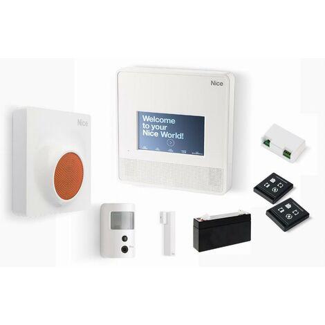 Kit de centralisation du système d'alarme 7000 Touch Prevention NICE - centrale sans fil + 2 émetteurs + 1 sirène ext. + 1 détecteur infrarouges + 1 détecteur d'ouverture + 1 module plug-in + 1 batterie 6V - MN7000KITPREVENTION