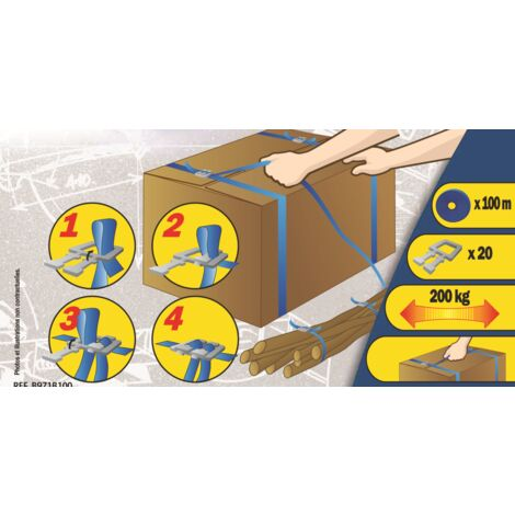 Kit de cerclage : Composé d'un rouleau de 100m + 50 boucles pour + ou - 20 cartons Mottez B971B100