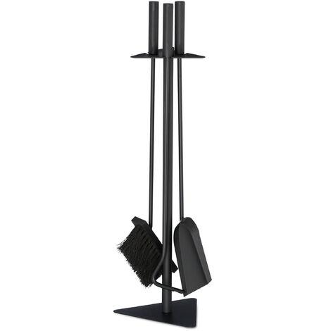 Kit de chimenea, Accesorios de limpieza de chimenea, Atizador, Cepillo, Recogedor & Soporte, Negro