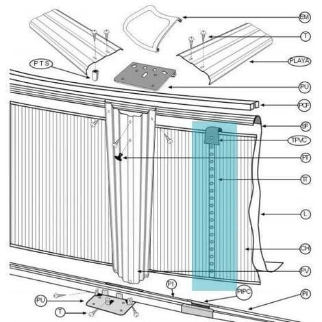 Kit de cierre para piscina de chapa TT TPVC KITTTC32P