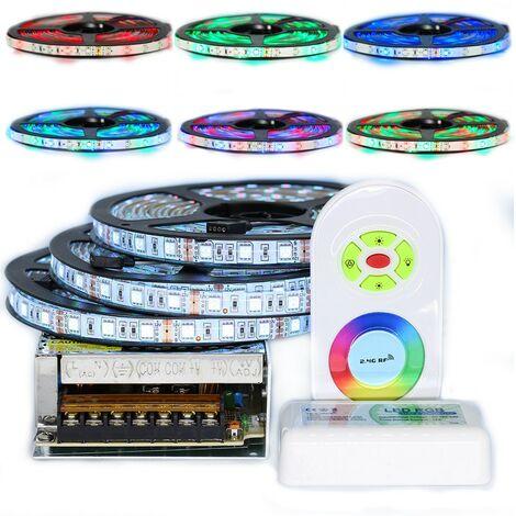 Kit de cinta profesional 5050 - 60 LED/m - 15 metros ( 3x5m )RGB anti-salpicaduras (IP65) con radio controlador y transformador | Longitud: 15 metros (3x5m)
