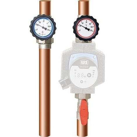 kit de circuit de chauffe Easyflow 1 nickelé, avec écrou-chapeau, Type 7 1 thermomètre rouge/bleu sans circulateur