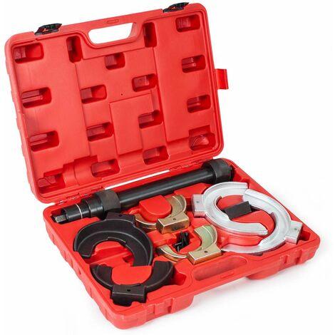 Kit de compresor de muelles tipo McPherson - set de herramientas para comprimir muelles de amortiguador, compresor de resortes para coche, compresor de acero de muelles amortiguadores - rojo