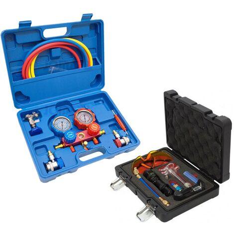 Kit de comprobación de aire acondicionado con manometros R12 Y R134A + detector de fugas de aire acondicionado