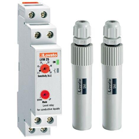 Kit de control de nivel de relé, LOVATO modular LVM25 240 y 2 sondas SN1 LVMKIT25