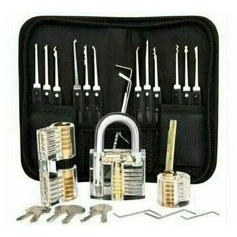 """main image of """"Kit de crochetage professionnel, 26 kits de signature de mot de passe avec 3 kits transparents de crochetage de cadenas"""""""
