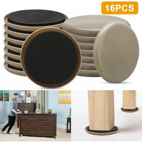 Kit de déménagement de meubles (16 pièces), curseurs de meubles de tapis rond de 3,5 , déménageurs réutilisables pour meubles lourds pour surfaces en moquette et sols durs, patins de glissières compatibles avec tous les meubles