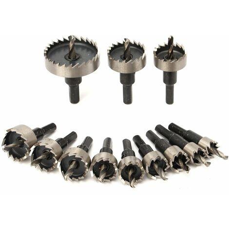 Kit de dents de lames de scie cloche 12 pièces HSS 15-50mm ensemble de forets outil de coupe de trou pour alliage de métal en plastique bois