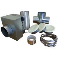 Kit de distribution d'air chaud 3 bouches 350 m3 pour cheminée