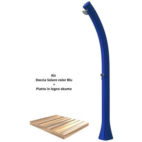 Kit de douche bleu avec plateau en bois cm 19x17x215 SINED ARKEMA-DPO-BLU