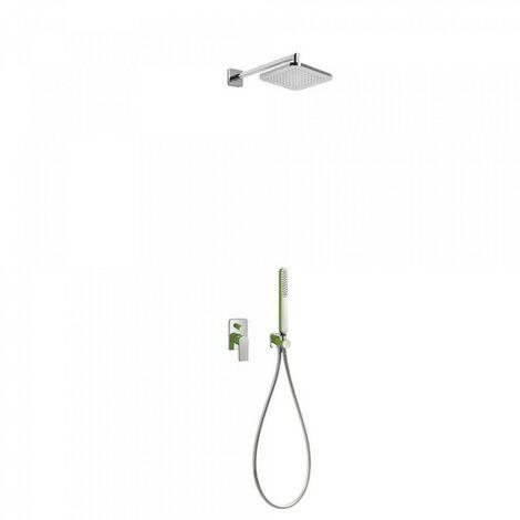 Kit de douche encastré avec fermeture et réglage du débit - TRES 20018002VE Vert