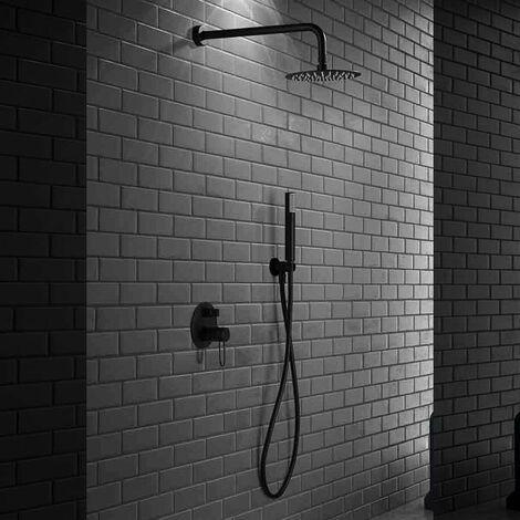 Kit de douche encastré design MILOS noir mat - Noir