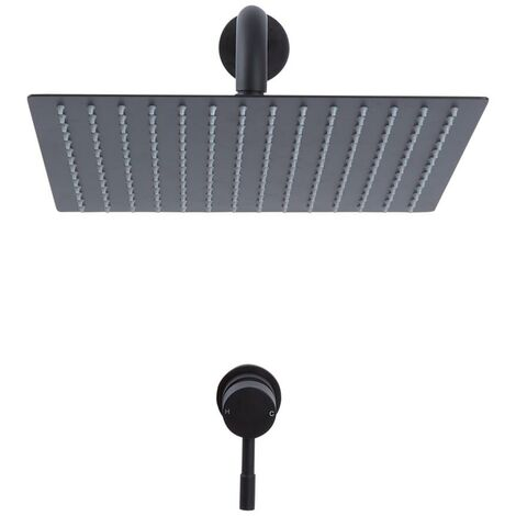 Kit de Douche - Mitigeur Mécanique Encastrable et Pommeau de Douche Carré Noir - 30 x 30cm - Nox