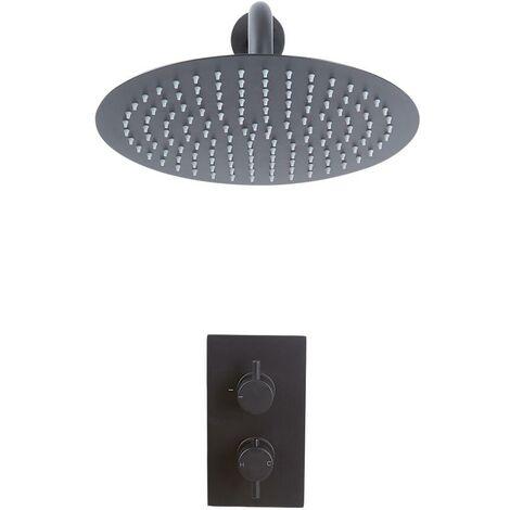 Kit de Douche - Mitigeur Thermostatique Encastrable et Pommeau de Douche Ø30cm Noir - Nox
