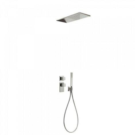 Kit de douche thermostatique et encastré BLOCK SYSTEM avec fermeture et réglage du débit (2 voies) - TRES 20625202AC Acier
