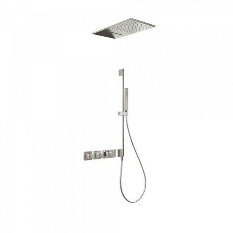 Kit de douche thermostatique et encastré BLOCK SYSTEM avec fermeture et réglage du débit (3 voies) - TRES 20725309AC Acier