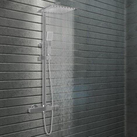 Kit de ducha combinado con termostato acero inoxidable - Plateado