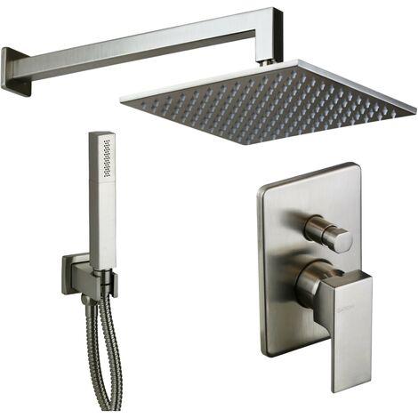 Kit de ducha completo de acero cepillado modelo cuadrado Gattoni Kubik KTQ15/PDNS | acero inoxidable cepillado