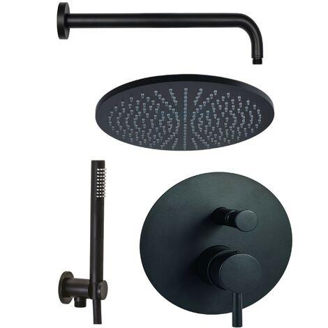 Kit de ducha completo negro mate Paffoni Light KITLIG015NO | Negro mate