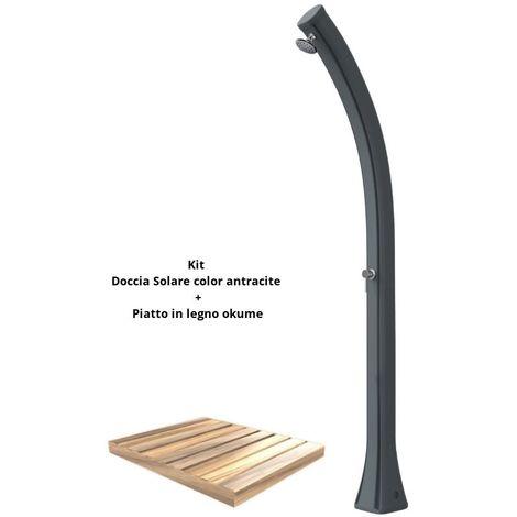Kit de ducha con bandeja de madera antra cm 19x17x215 SINED ARKEMA-DPO-ANTRACITE