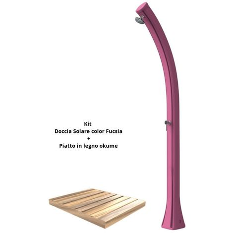 Kit de ducha fucsia con bandeja de madera de okume cm 19x17x215 SINED ARKEMA-DPO-FUCSIA
