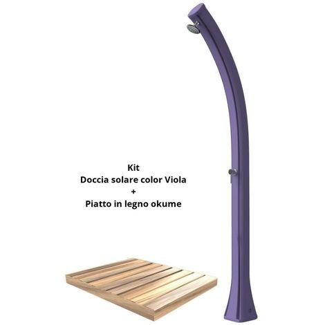 Kit de ducha solar con plato de madera