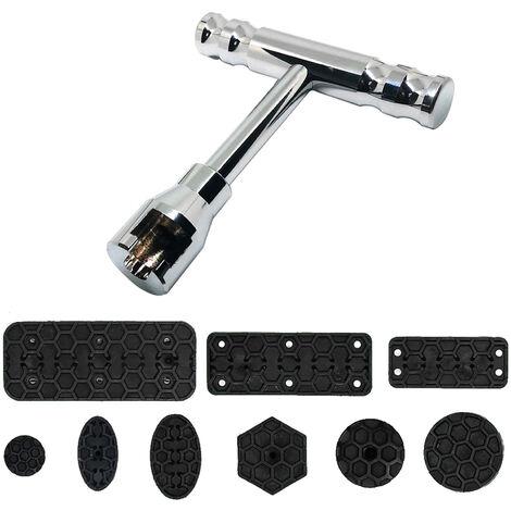 Kit de extractor de reparacion de abolladuras sin pintura, herramienta de barra en T con martillo deslizante, lenguetas de extraccion de abolladuras